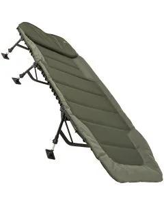 Angled shot of the JRC Defender Levelbed Wide Bedchair set up