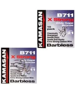 Kamasan B711 X-Strong Wide Gape Barbless Hooks