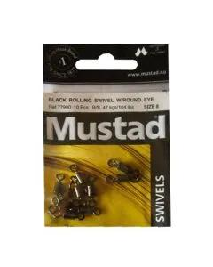 Mustad Black Rolling Swivel with Round Eye