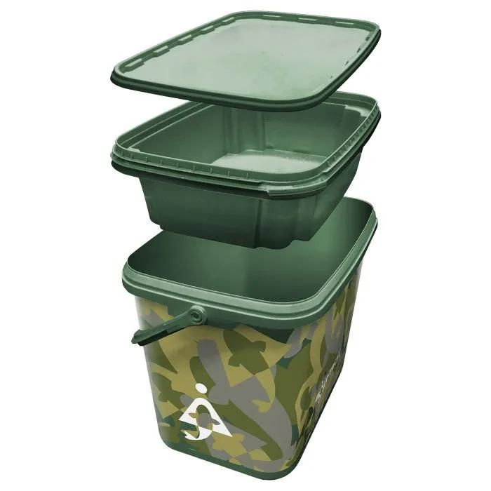 Bait-Tech 8L Square Camo Bucket with Insert Tray