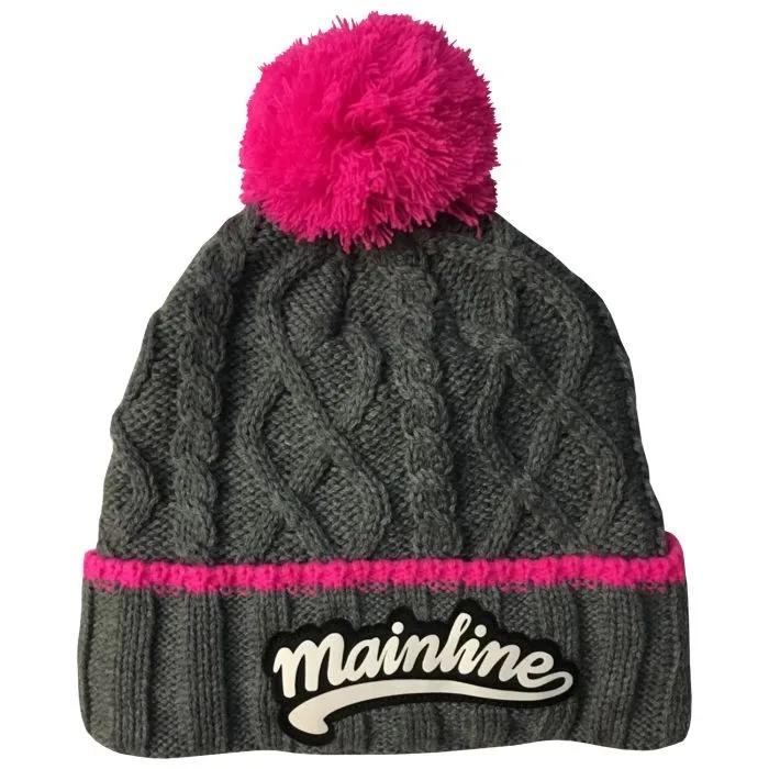 Mainline Chunky Beanie Grey with Pink Bobble